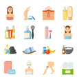 Skincare And Bodycare Flat Icons vector image