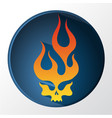 red and yellow gradient flaming skull vector image