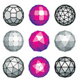 set of dimensional low poly objects spherical vector image