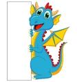 Cute dragon cartoon with blank sign vector image