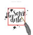 Design wedding postcard with ink spots feather and vector image