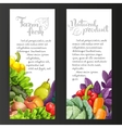 Two vertical banners with fresh fruits and vector image