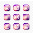 Simple camera icon set social media vector image