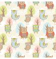 Cute cartoon owls fantasy coloful pattern vector image