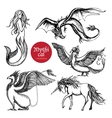 Mythical Creatures Hand Drawn Sketch Set vector image