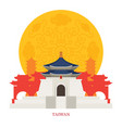 Taiwan landmarks with decoration background vector image