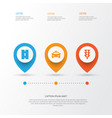 transport icons set collection of cab way vector image