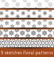 Set of sketches floral patterns vector image