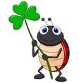 Cute ladybug cartoon with clover leaf vector image