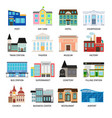 city buildings flat icons on white vector image