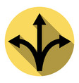 three-way direction arrow sign  flat black vector image