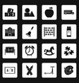kindergarten symbol icons set squares vector image