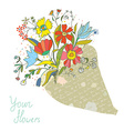Bunch of flowers in the paper wrapping card vector image