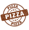 pizza brown grunge round vintage rubber stamp vector image
