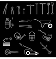garden tools set black vector image