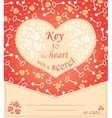 Cute design for greeting card with heart and roses vector image