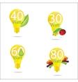 nature eco gold bulb symbols set vector image