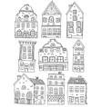 Hand Drawn Houses Monochrome Set vector image