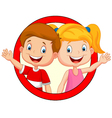 Cute children waving hand vector image vector image