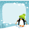 penguin winter snowy background vector image