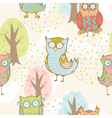 Cute cartoon owls fantasy coloful pattern vector image