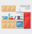 Flat design of kitchen interior vector image