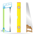 hacksaw ruler and wood-working saw vector image