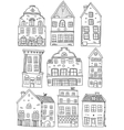 Hand Drawn Houses Monochrome Set vector image