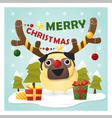 Merry Christmas Greeting Card with dog wearing vector image