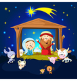 Nativity in Bethlehem with animals - Christmas vector image