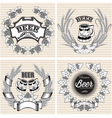 set of wreaths of rye and hops for beer vector image