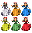 Woman in different color dress vector image vector image