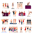 Dancing Club People Flat Icons Set vector image