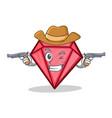 cowboy diamond character cartoon style vector image