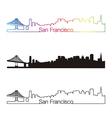 San Francisco skyline linear style with rainbow vector image vector image