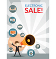 Businessman and Megaphone Announce Electronic Sale vector image