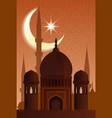 arab islamic architecture mosque moonlit night vector image