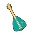 cartoon green electric guitar bass instrument icon vector image