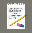 PENCIL RUBBER PAPER LETTER vector image