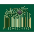 Bar code with computer motherboard elements vector image