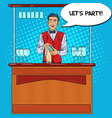 Pop art barman wiping glass in nightclub bar vector image