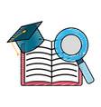 open notebook with graduation cap and magnifying vector image