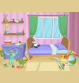 Room for kids with funny toys on the floor vector image