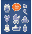 Baby icons paper cut style vector image