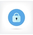 Flat design blue lock icon vector image