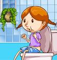 Little girl using toilet vector image
