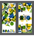 Brazil and Rio banners in abstract geometric style vector image