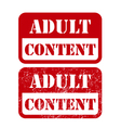 Adult content sign - shabby stamp vector image