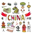 China hand drawn doodle icons collection vector image