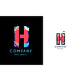 h blue red letter alphabet logo icon design vector image
